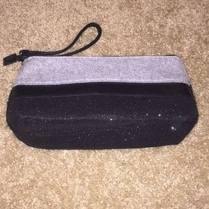 Black glittery and grey zip wristlet